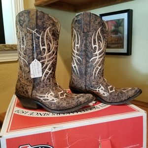 Ladies Justin Leather Cowboy Boots Size 8